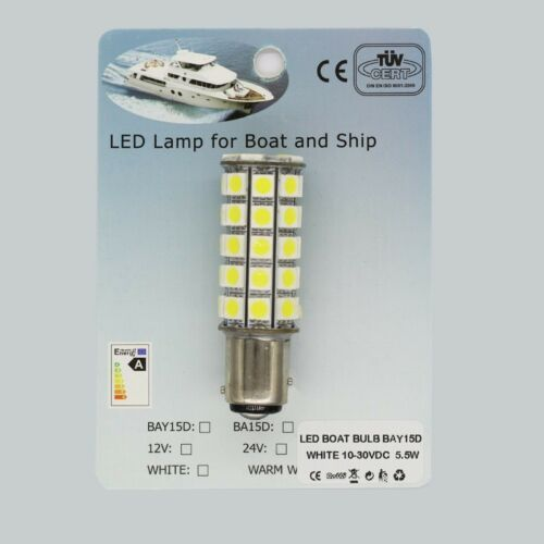 5pcs x BAY15d 10-30V Brightest 6500K White LED Boat Marine Hella Navigatio Bulb