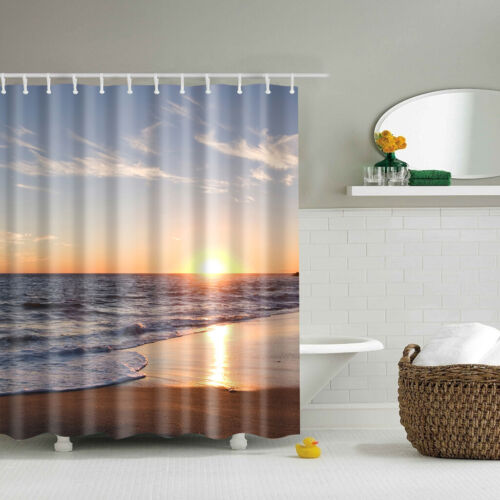 Waterproof Fabric Bathroom Shower Curtain Sheer Panel Decor 12 Hooks NEW