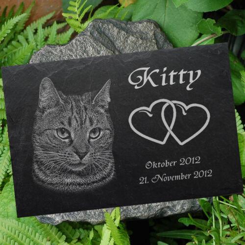 TIERGRABSTEIN Grabstein Grabschmuck Katzen Katze-008 ► Fotogravur ◄ 20 x 15 cm