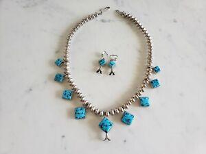Vintage-AP-COAN-Turquoise-Sterling-Silve-Squash-Blossom-Necklace-Earring-Set