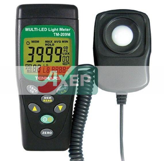 A● TENMARS TM-209M LUX FC Meter Light Tester Multi-Color LED Light Intensity