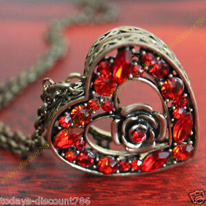 vintage red heart locket necklace love xmas gift for her girl wife