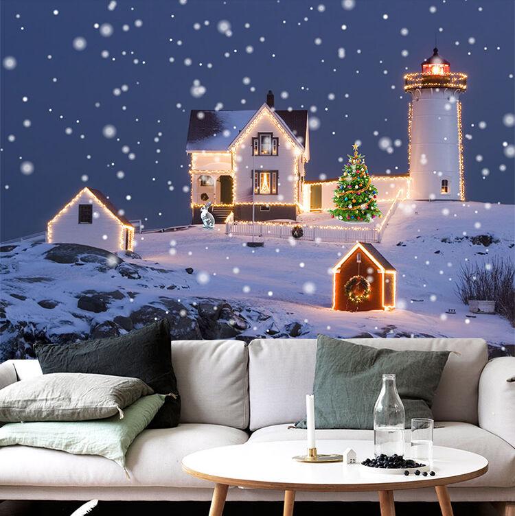 3D Weihnachten Schöner Schnee 08 Fototapeten Wandbild Bild Tapete Familie Kinder