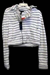 Sweatshirt-By-BCGC-Maxizaria-White-Navy-Blue-Stripes-Turtle-Neck-Women-039-s-SizeXS