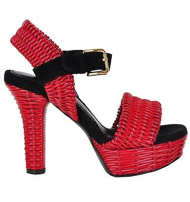 DOLCE & GABBANA RUNWAY Plateau Woven Sandals Red Sandales Rouge 02400
