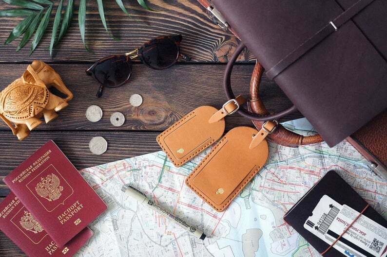 Leather Luggage Tags Personalized / Leather Engraved Travel Tags Personalized...