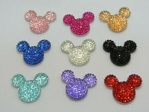20-Flatback-Resin-Rhinestone-Mouse-Head-Gem-Cabachons-24X20mm-Color-for-Choice