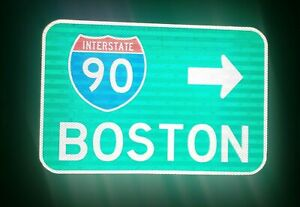 BOSTON-Interstate-90-route-road-sign-Massachusetts-Red-Sox-Fenway-Park