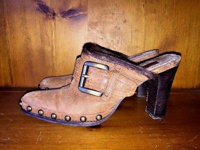 8820c41037a3a APEPAZZA Clogs Wedges Mules Fur Line Distressed High Heel Women Shoe Sz 7.5  👠b1   eBay