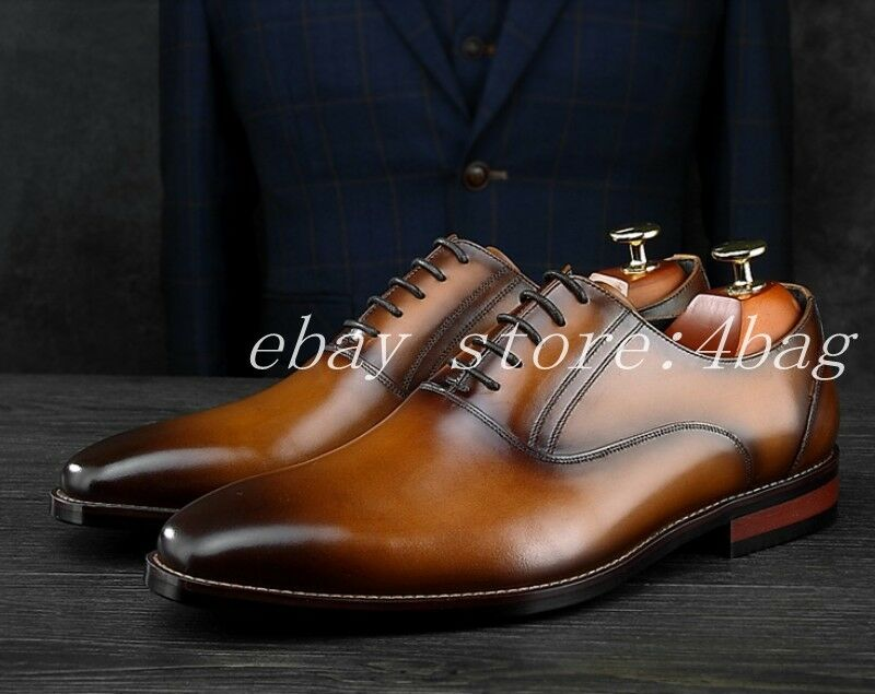Formal Men's Genuine Leather Pointy Toe British Lace Up Wedding shoes Oxfords SZ