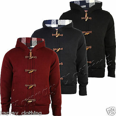 Mens Cardigan Jumper Heavy Knitted Tokyo Laundry Warm Hooded Flannel Jacket