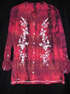 Hand-tie-dye-red-black-blouse-shirt-holiday-size-14-M-amp-S