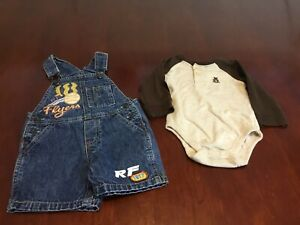 Lot-Of-2-Baby-Boy-6-9M-Bibbed-Blue-Jean-Overalls-Shorts-L-S-Body-Suit-Brown