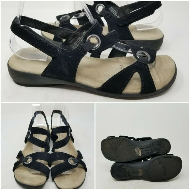 Comfort Plus By Predictions Black Ankle Slip On Sandal Slides Womens Size 7 W