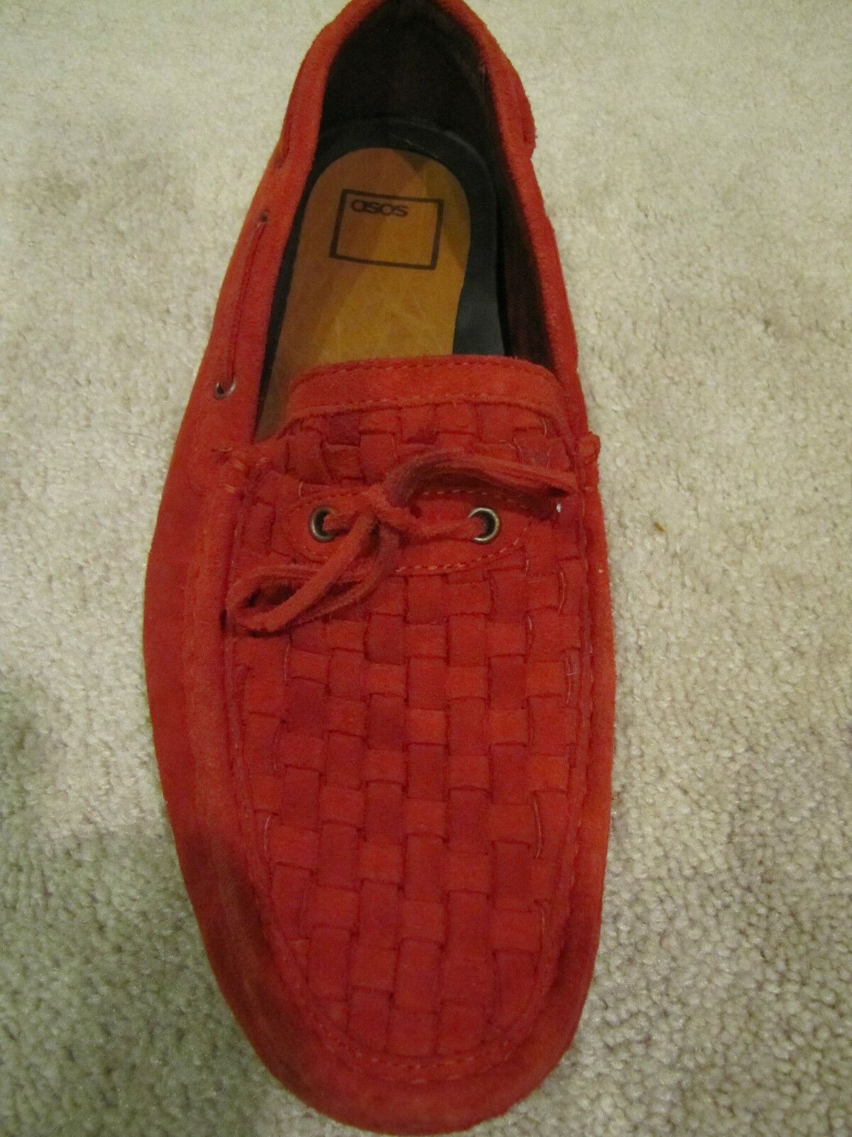 New Without Box.ASOS Leather Driving Moc 13D rouge Retail  125