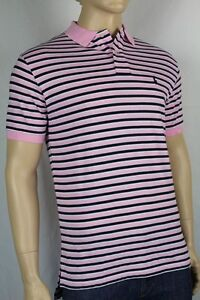 POLO Ralph Lauren X-Large XL Pink Navy Blue White Stripe Mesh Polo Shirt NWT