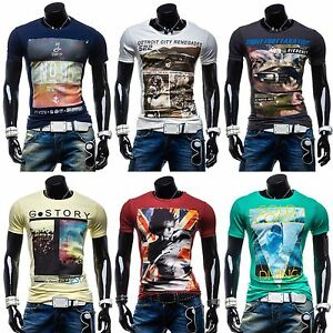 BOLF-Glo-Story-T-Shirt-Kurzarm-Shirt-Motiv-Herren-Freizeit-Men-MIX-3C3-Aufdruck