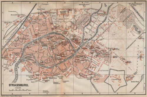 Straßburg STRASBOURG town city plan de la ville Bas-Rhin carte 1896 old map