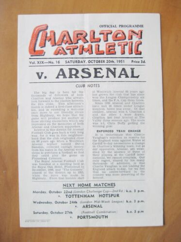 CHARLTON ATHLETIC v ARSENAL 19511952 Excellent Condition Football Programme