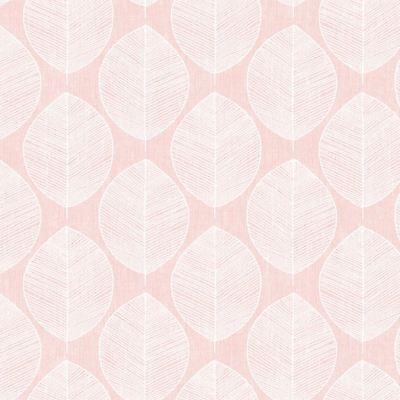 Pretty Leaf Silhouette Wallpaper - Scandi Leaf - Pink - 10m Roll