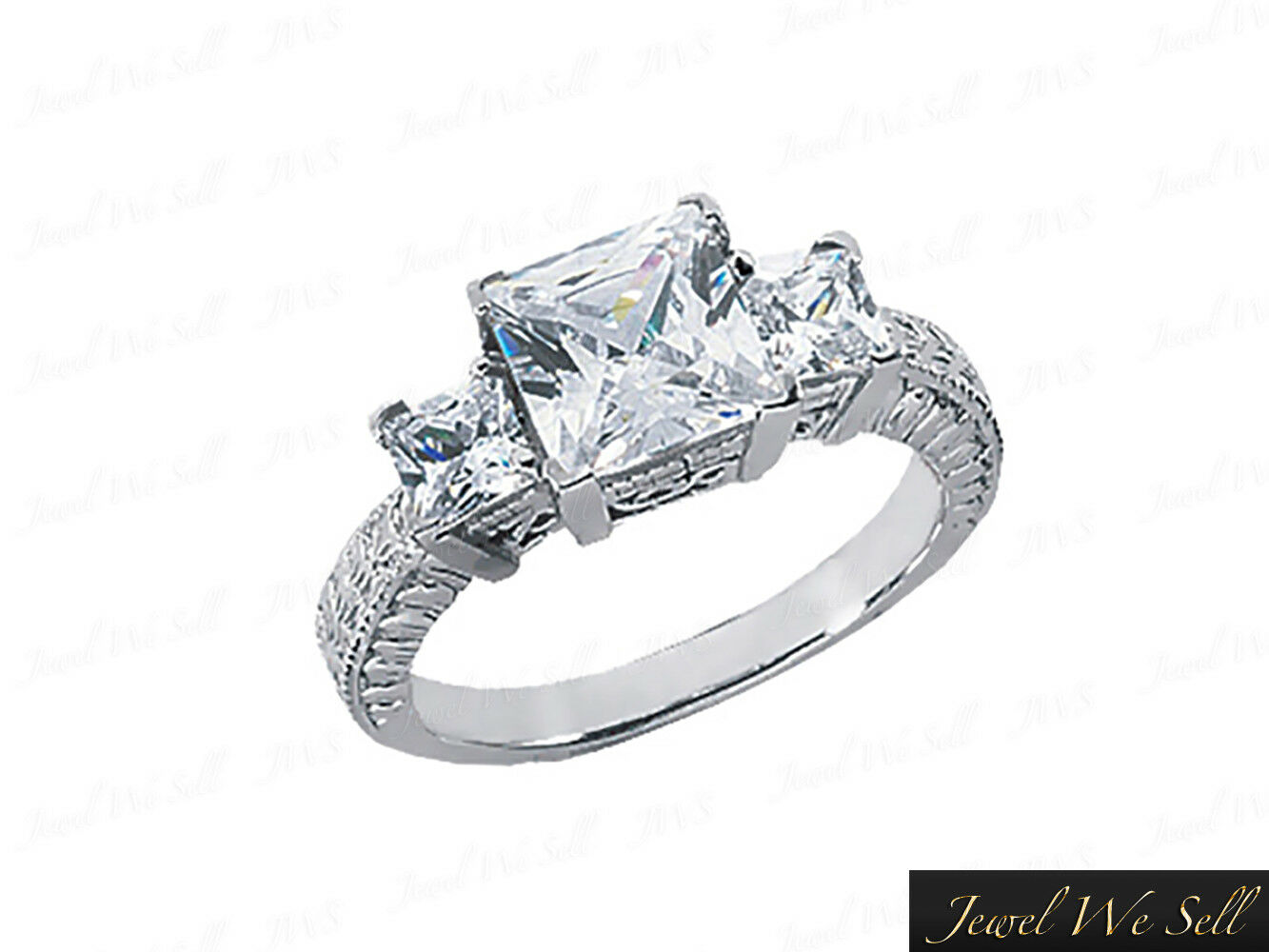 0.5ct Princess Diamond 3Stone Vintage Antique Ring 10K White gold I SI2 V-Prong
