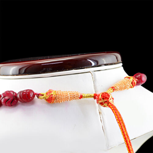 SUPERB 447.50 CTS EARTH MINED OVAL CARVED RICH RED RUBY BEADS NECKLACE STRAND