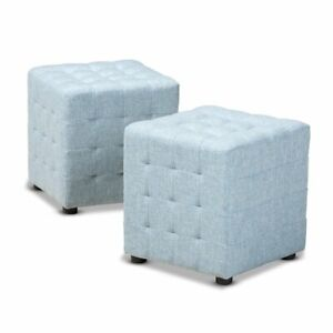 Wondrous Details About Baxton Studio Elladio Light Blue Fabric Tufted Cube Ottoman Gmtry Best Dining Table And Chair Ideas Images Gmtryco