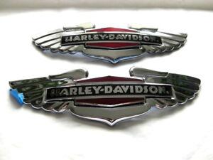 Harley-Davidson-Tank-Embleme-Tankschilder-Tankembleme-Chrom-14100629-14100630