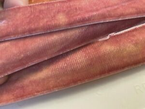 Vintage-1-034-Velvet-Ribbon-Rayon-English-Rose-Shaded-3yds-Made-in-France