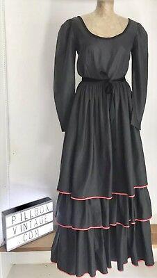 1970s Fink Modello Nero Con Red Passamaneria Flamenco Style Dress Size 10-12-mostra Il Titolo Originale