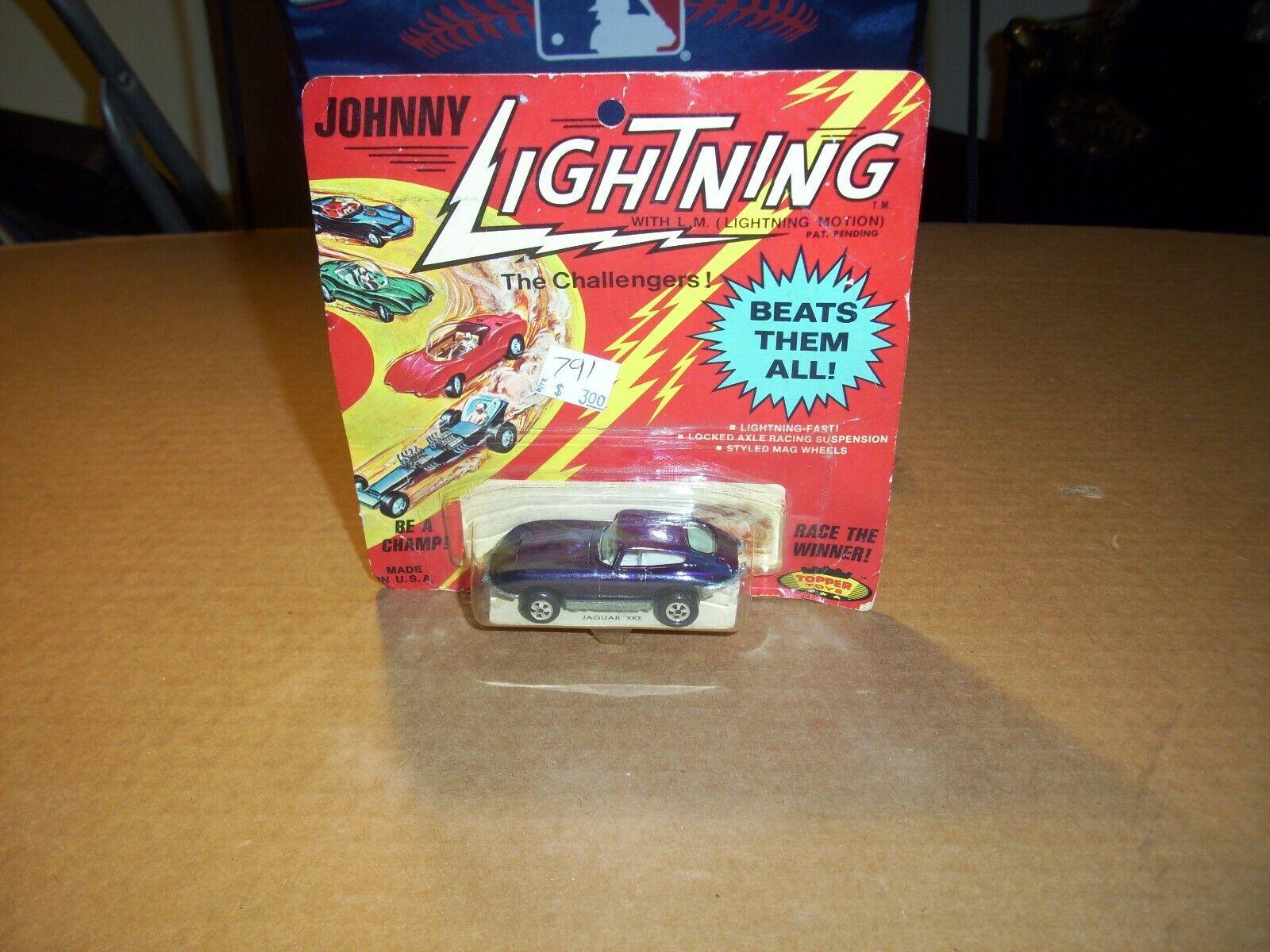 JOHNNY LIGHTNING TOPPER TOYS VINTAGE 1970 Redline Jaguar XKE Dark blueee MOC