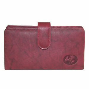 New-Buxton-Women-039-s-Leather-Slim-Floral-Embossed-Checkbook-Cover-Wallet