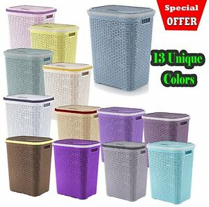 Plastic-Laundry-Basket-Large-Washing-Clothes-Bin-Rattan-Style-with-Handles-Lid
