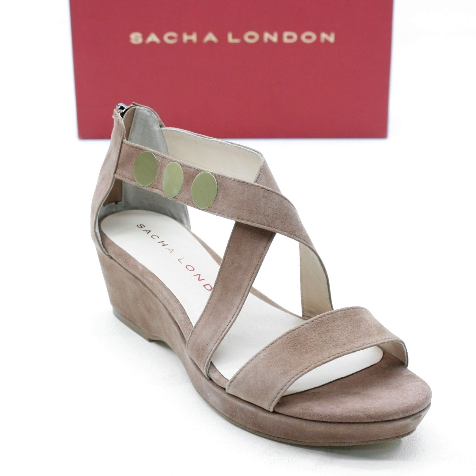 Sacha London Ladies 10 Gina Tan Taupe Kid Suede Nubuck Platform Sandals Back Zip