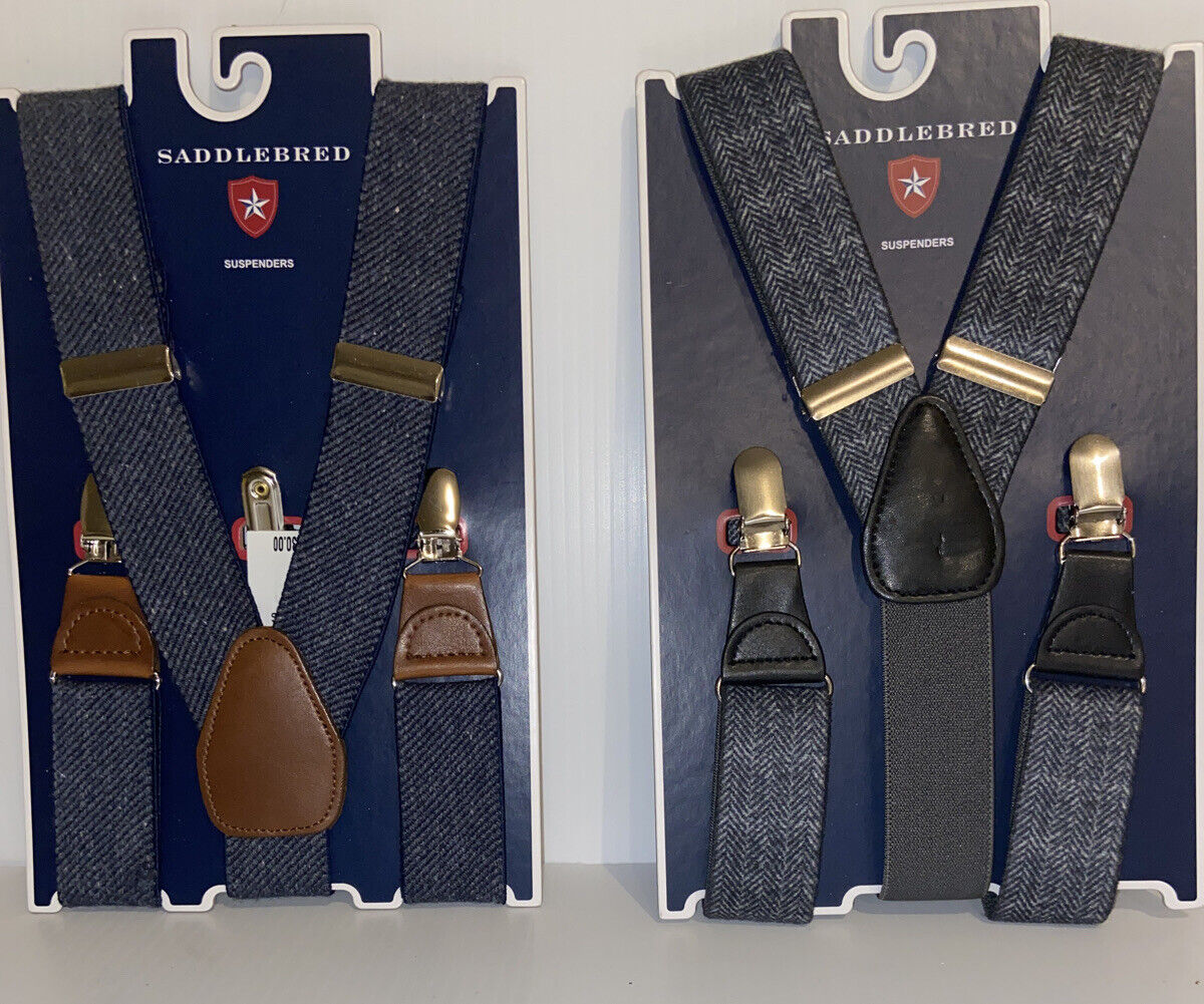 Saddlebred Clip Closure Suspenders-1 Navy Tweed & 1 black Tweed-One Size Fit All