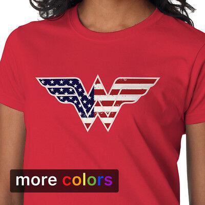 Wonder Woman USA BANNER Vintage Style Juniors Cap Sleeve T-Shirt