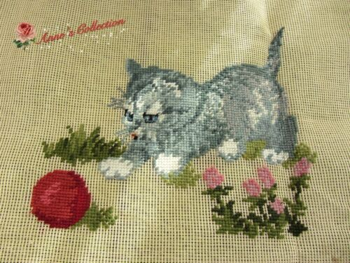 Preworked Woollen Needlepoint Embroidery Canvas Tapestry~Cute Cat~Lovely Design~