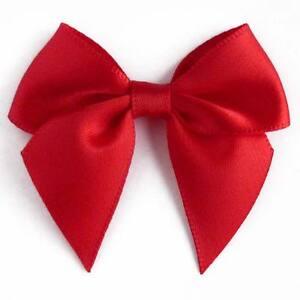 10 noeud en satin appliques a coudre ou a coller rouge vif couture d co mariage ebay. Black Bedroom Furniture Sets. Home Design Ideas