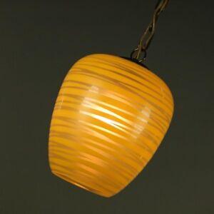 Ketten-Pendel-Leuchte-Glas-Haenge-Lampe-Dekorschirm-Vintage-50er-Jahre