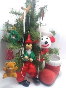 Vintage Lot Of Christmas Kitsch Ornaments Ceramic Boot Bells Marionette Flocked