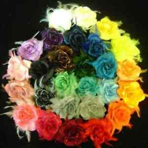 NEW-6-MIXED-FLOWER-WRISTBAND-ELASTIC-HAIR-BOBBLE-CORSAGE-YOU-CHOOSE-COLOURS
