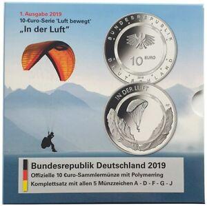 5 x 10 Euro in der Luft 2019 ADFGJ Komplettsatz Stempelglanz im Folder