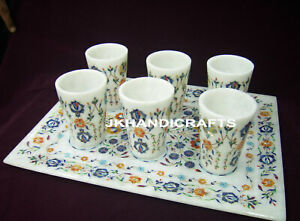 White-Set-Of-7-Glass-Marble-Serving-Tray-Marquetry-Floral-Inlay-Art-Home-Decor
