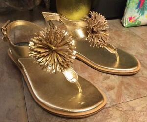 "b0ad669c868 MICHAEL KORS SANDALS Sz. 6.5M ""Lolita Thong Sandal"" Gold W Pom-Poms ..."