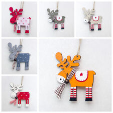 Xmas Tree Pendants Hanging Wooden Elk Christmas Home Party Decorations Gifts