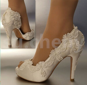 Charmant Image Is Loading 3 034 4 034 Heel Satin White Ivory