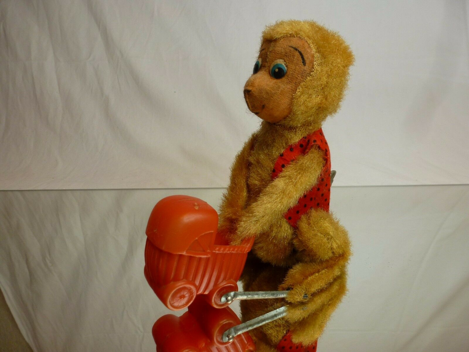 VINTAGE TIN TOY  WINDUP HAIRY MONKEY APE + STROLLER  H14.0cm RARE - GOOD COND