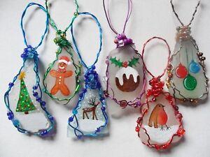 SEA-vetro-decorazioni-albero-di-Natale-Pupazzo-di-neve-dipinto-a-mano-candele-Betlemme