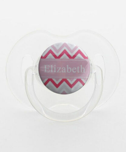 Personalized Name Pink Chevron Baby Pacifier