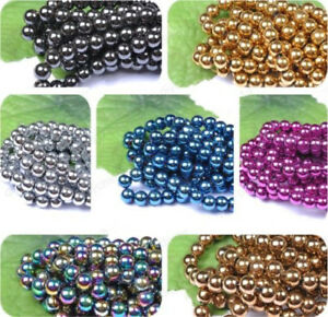 4MM-6MM-8MM-10MM-12MM-Ball-BLACK-NON-MAGNETIC-Natural-HEMATITE-Spacer-BEADS-Diy